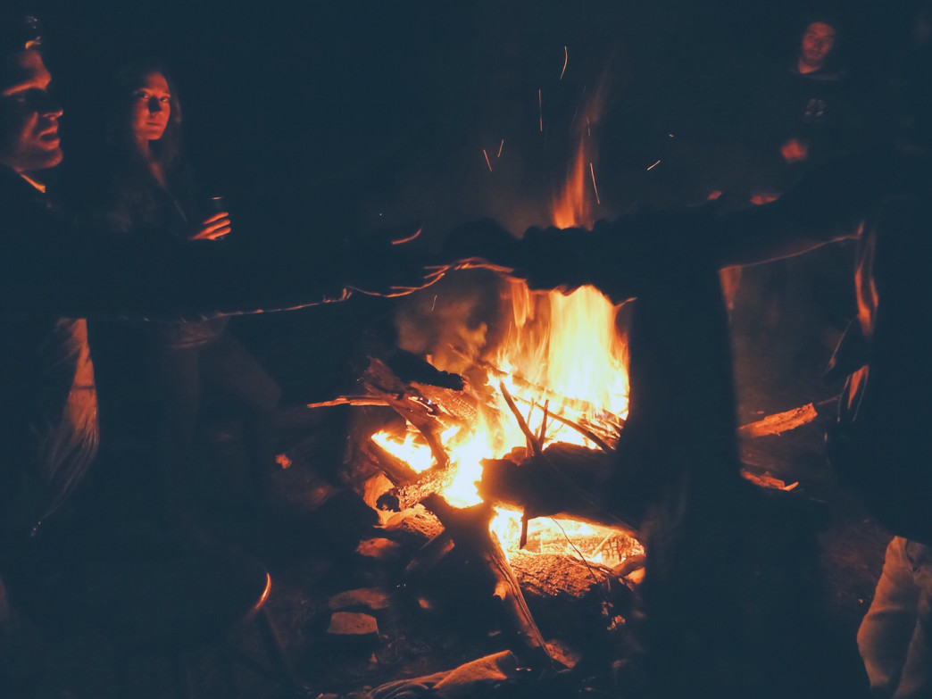 Enjoying a toasty fire on a chilly night in the Prentice Cooper State Forest