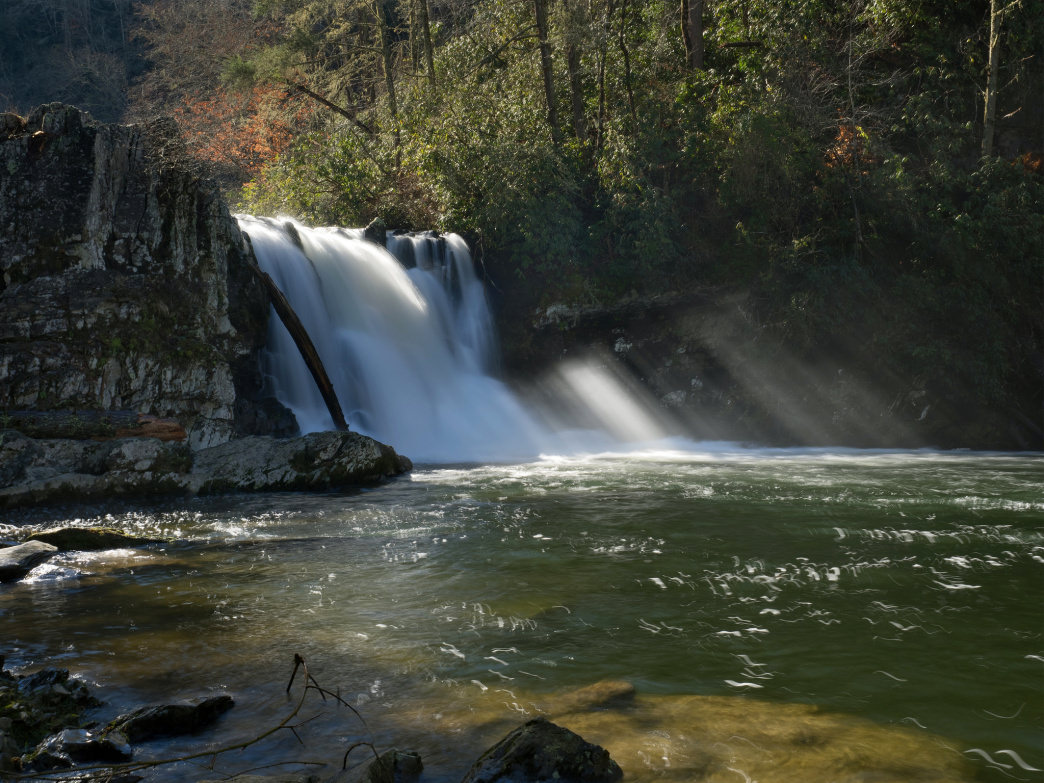 Abrams Falls is a popular hike in the Cades Cove area of Great Smoky Mountains National Park.