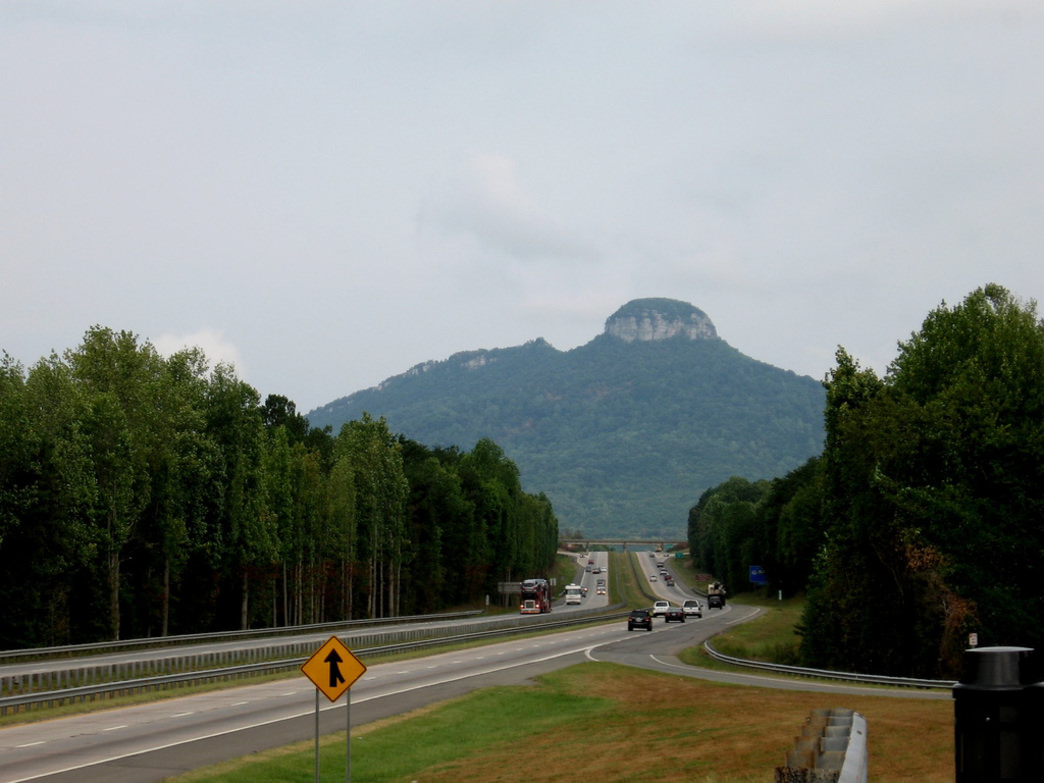 The cylindrical stone cap of Pilot Mountain is one of the most iconic sites along the MST