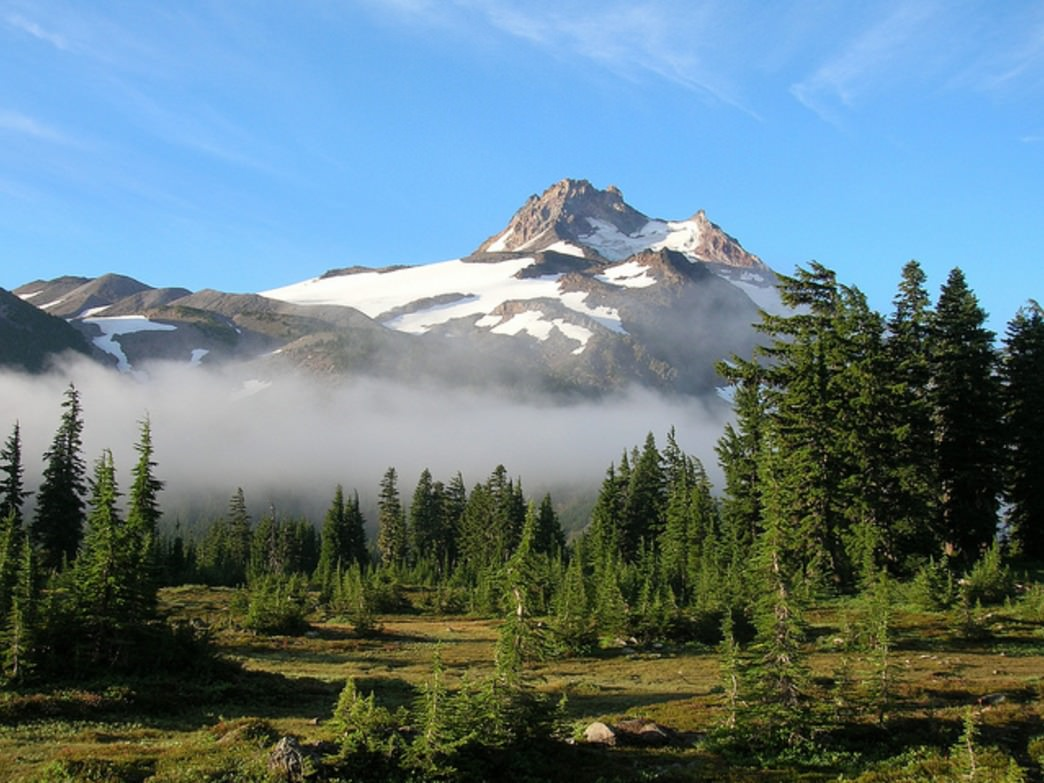 Mount Jefferson, Oregon's second-tallest peak, is visible from throughout the surrounding Cascades. Jefferson Park's scenic trails reward hikers with views, as well.