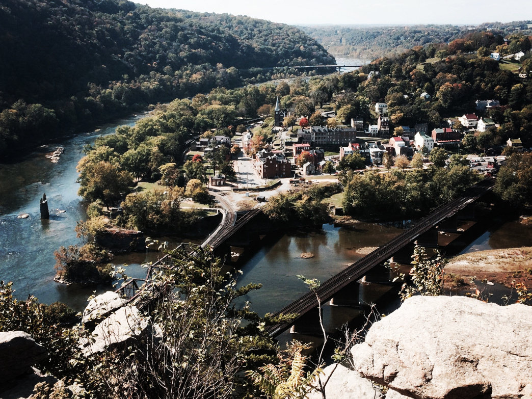 The view of Harpers Ferry from Maryland Heights.