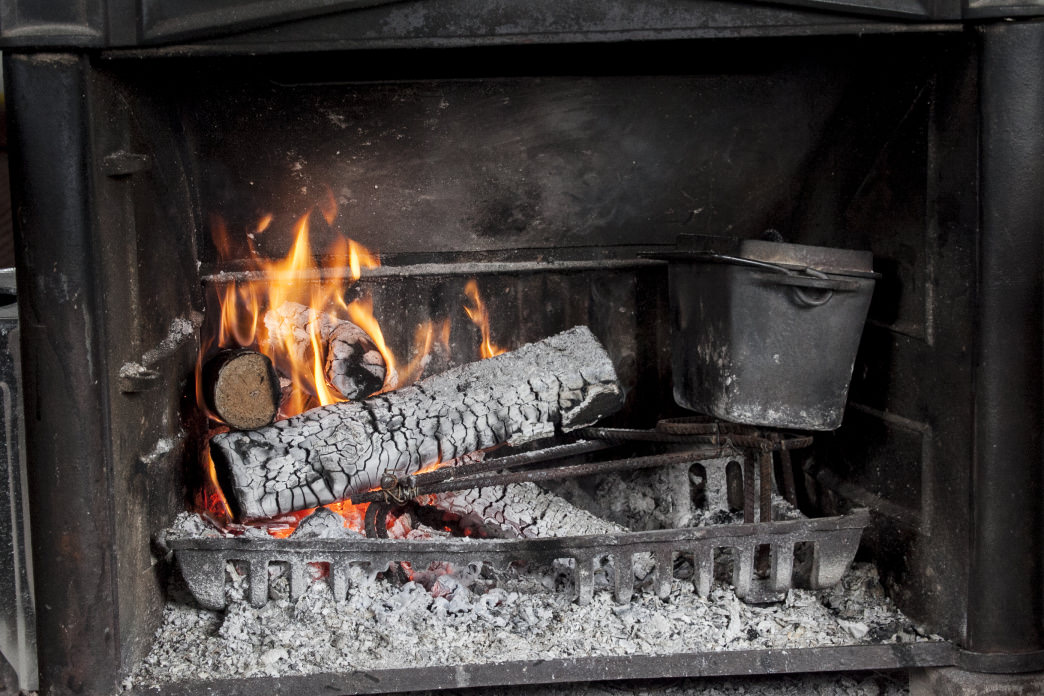 A fireplace or wood-burning stove is a must.
