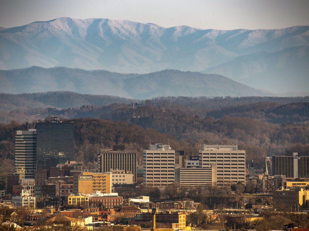 View of the snow covered Smokies behind Knoxville from Sharp's Ridge.