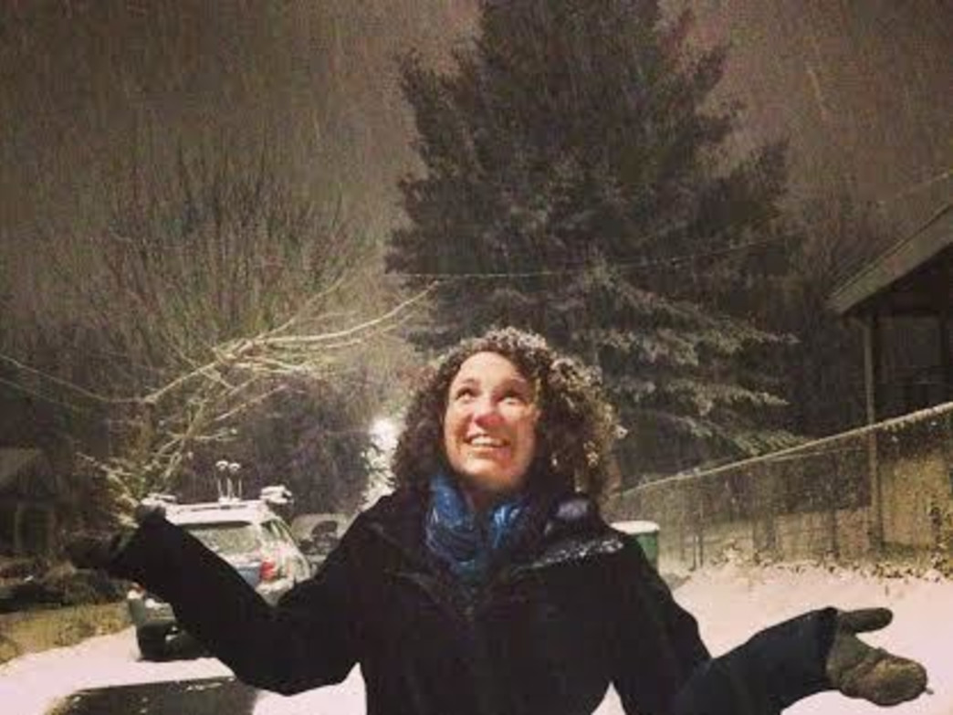 Anna Levesque in an Asheville snowstorm.