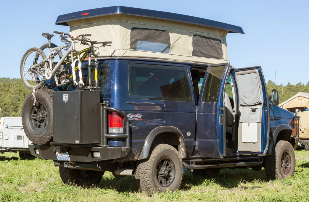 A pop-up addition to a camper van means having enough space to stand upright inside.