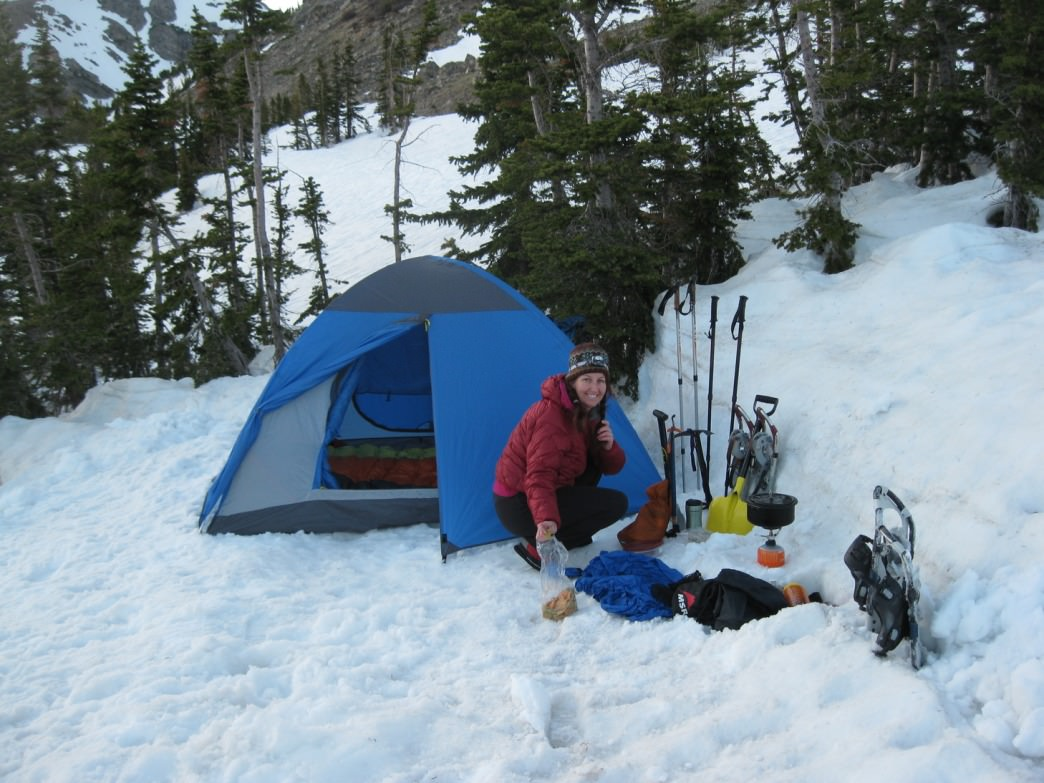 Winter camping in the Indian Peaks Wilderness.