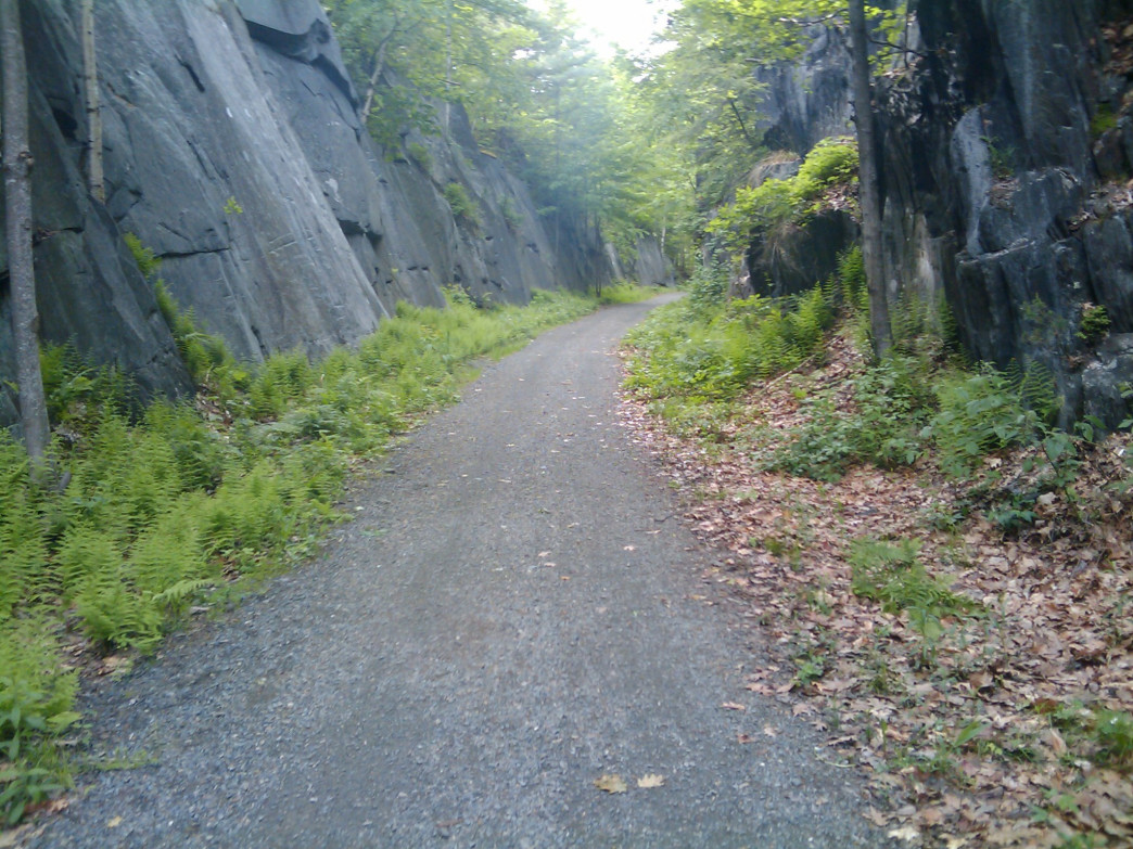 Part of the Northern Rail Trail on its way through Enfield, NH.