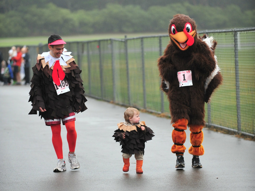 Three turkeys take to the track.