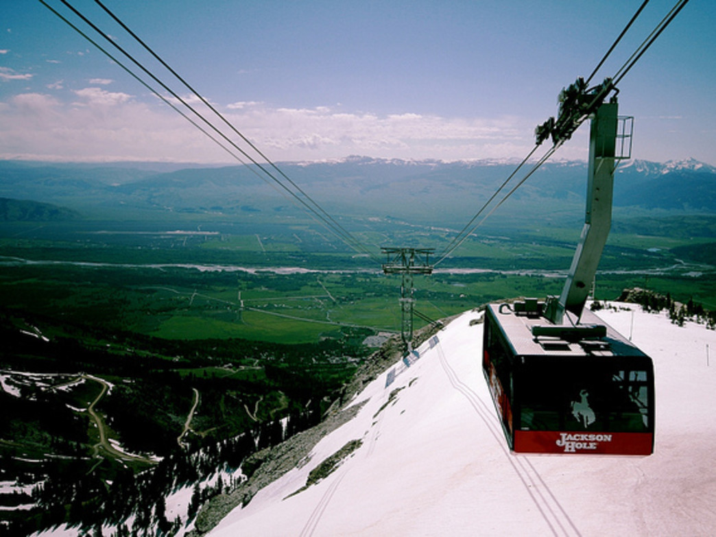 Even when it's summery in the valley, the Jackson Hole Aerial Tram rises up into the high-country snows.