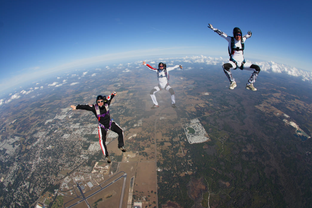 Skydivers experience the thrill of a free fall.