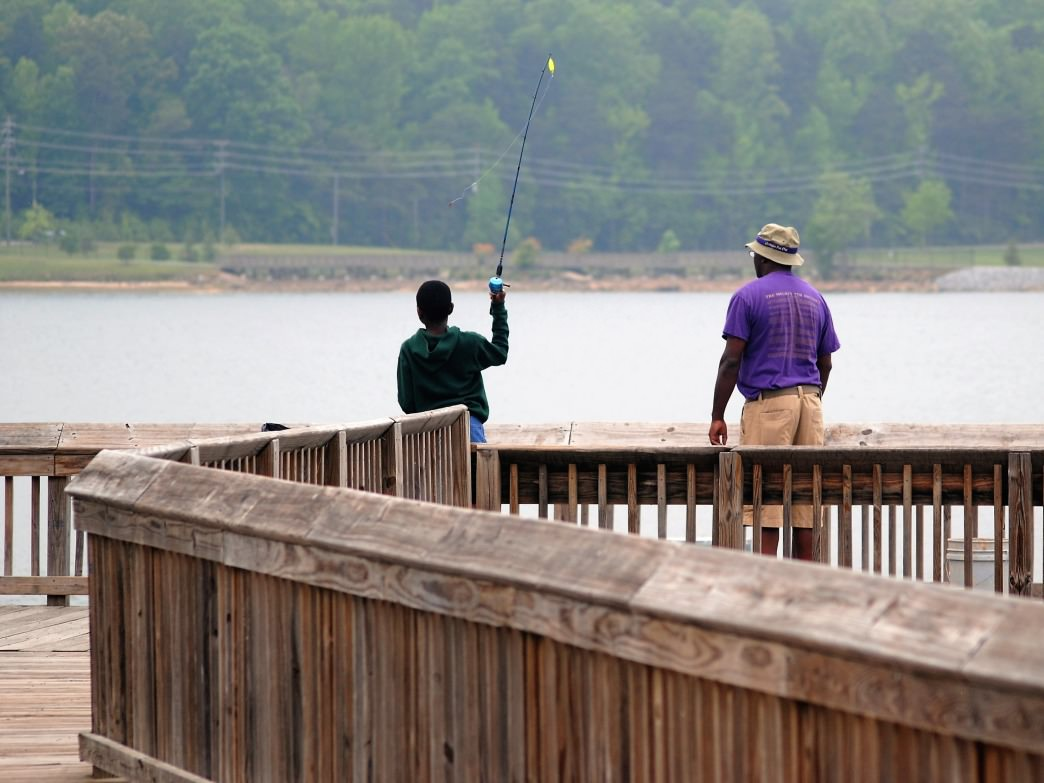 Several lakes in Gaston offer shore and pier fishing