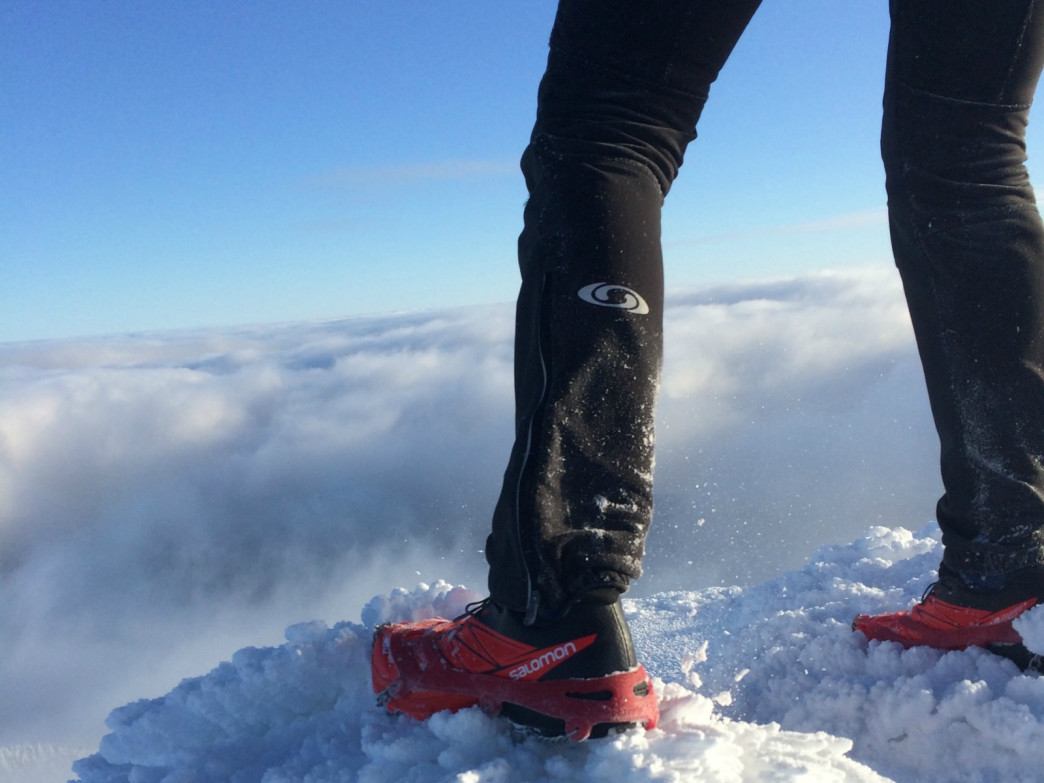 The right footwear and traction devices can make all the difference during a slippery run