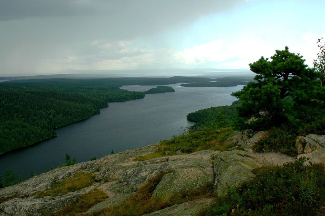 A storm rolls over Long Pond in Acadia National Park