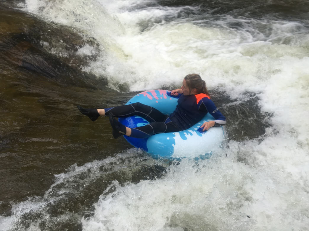 A wet suit is an excellent idea for tubing Boulder Creek.