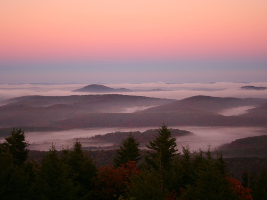 Morning colors rise in the valley below Spruce Knob.