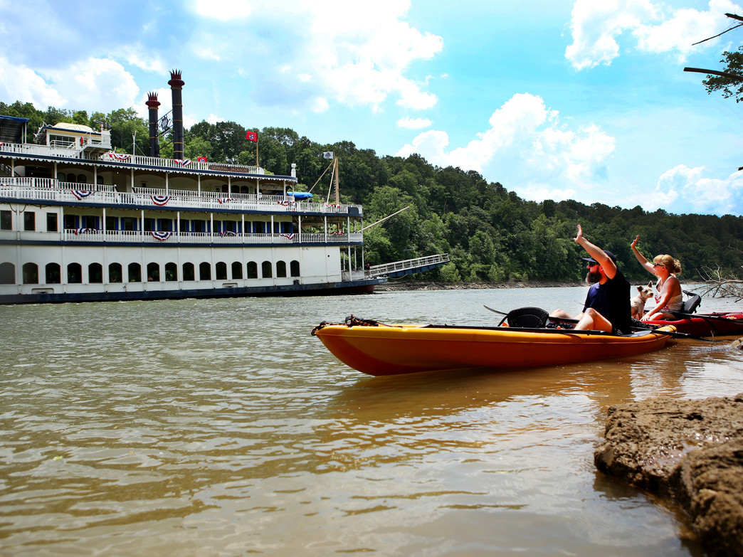 Paddling the Cumberland River next to the General Jackson showboat